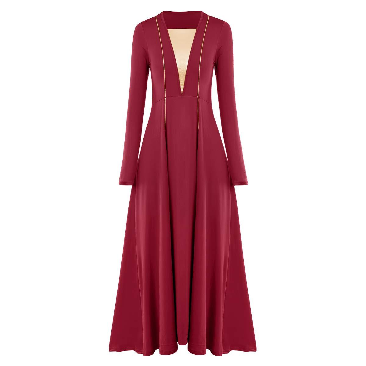 IMEKIS Metallic Liturgical Praise Dance Dress for Women Long Sleeve Lyrical Dancewear Circle Full Length Robe Worship Costume