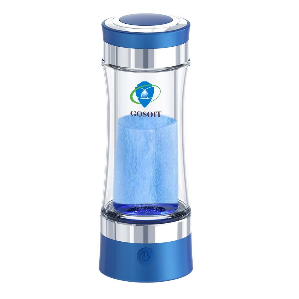 GOSOIT Hydrogen Alkaline Water Bottle Machine Maker Hydrogen Water Generator Ionizer with SPE and PEM Technology,US Membrane Make Hydrogen Content up to 800-1200 PPB (blue)