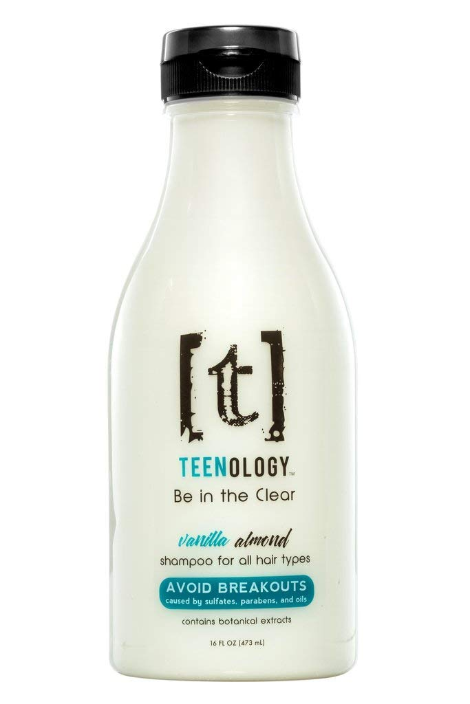TEENOLOGY Shampoo for Teens - Avoid Forehead Acne and Breakouts - No Sulfates or Parabens, Noncomedogenic, Natural Botanical Extracts, Vanilla Almond 16 oz.