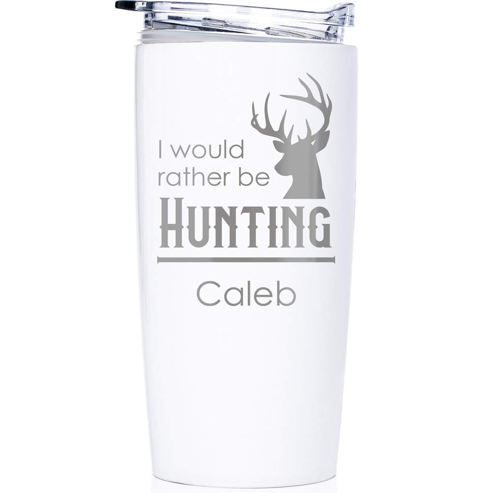 Engraved Personalized Outdoorsman Tumbler 20 oz (White): Outdoorsman Stainless Steel Travel Mug, Personalized Hunting Tumbler with Name