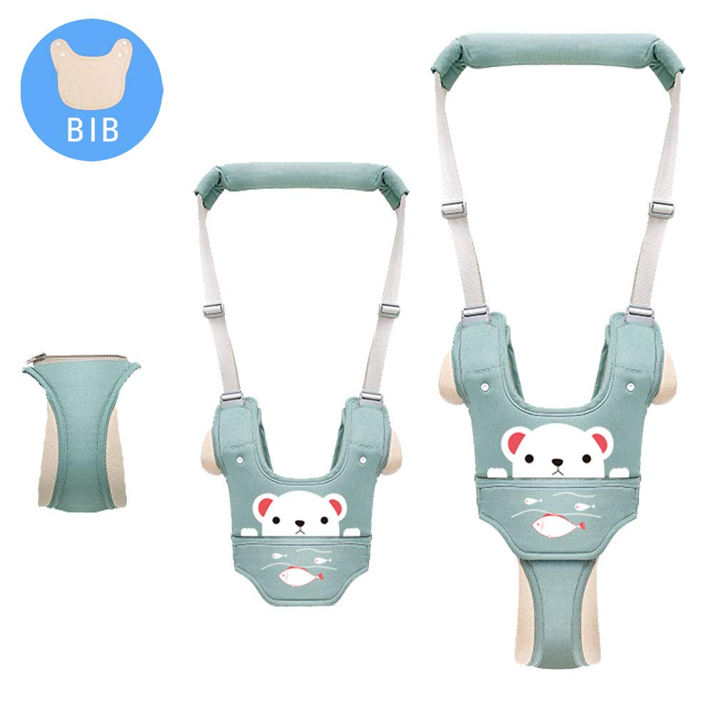 Baby Walking Assistant,Autbye Adjustable Toddler Walking Harness Handle Baby Walker with Detachable Crotch & Bib,Breathable and Comfortable for Toddlers Infant Learning to Walk (Green-B)