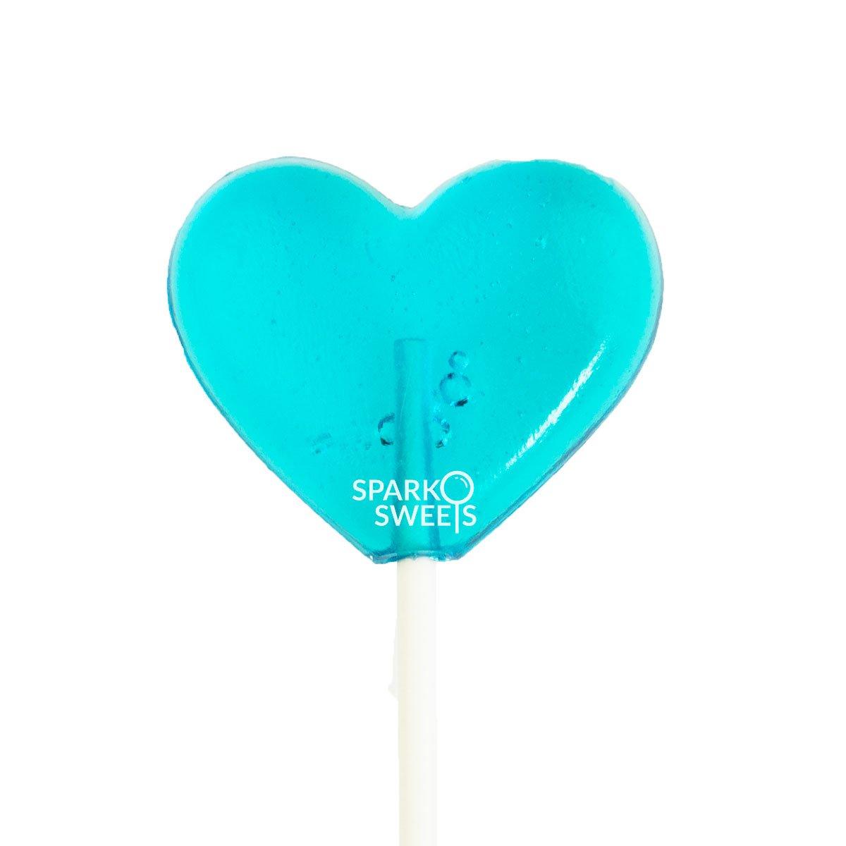 "Baby Blue Heart Lollipops, Blue Raspberry Flavor, 2"" Diameter Lollipop, Handcrafted Fresh in USA, 24 Pieces"