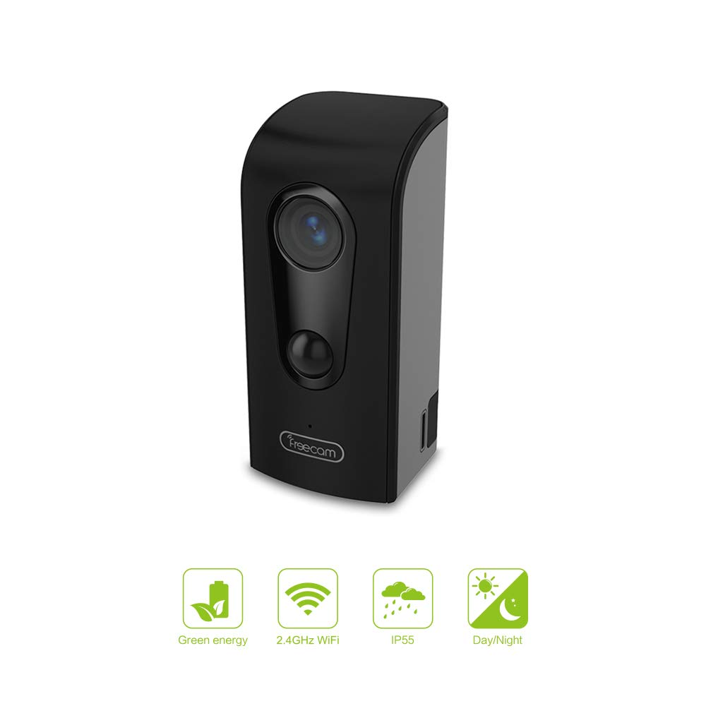 Freecam Rechargeable Battery Outdoor Wireless WiFi Security Camera HD Wire-Free Night Vision Alarm Alert & PIR Motion Sensor 8GB SD Card Included C380 Black