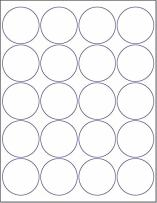"""Laser/Ink Jet White Labels (2"""" Round - 20 Per Page 
