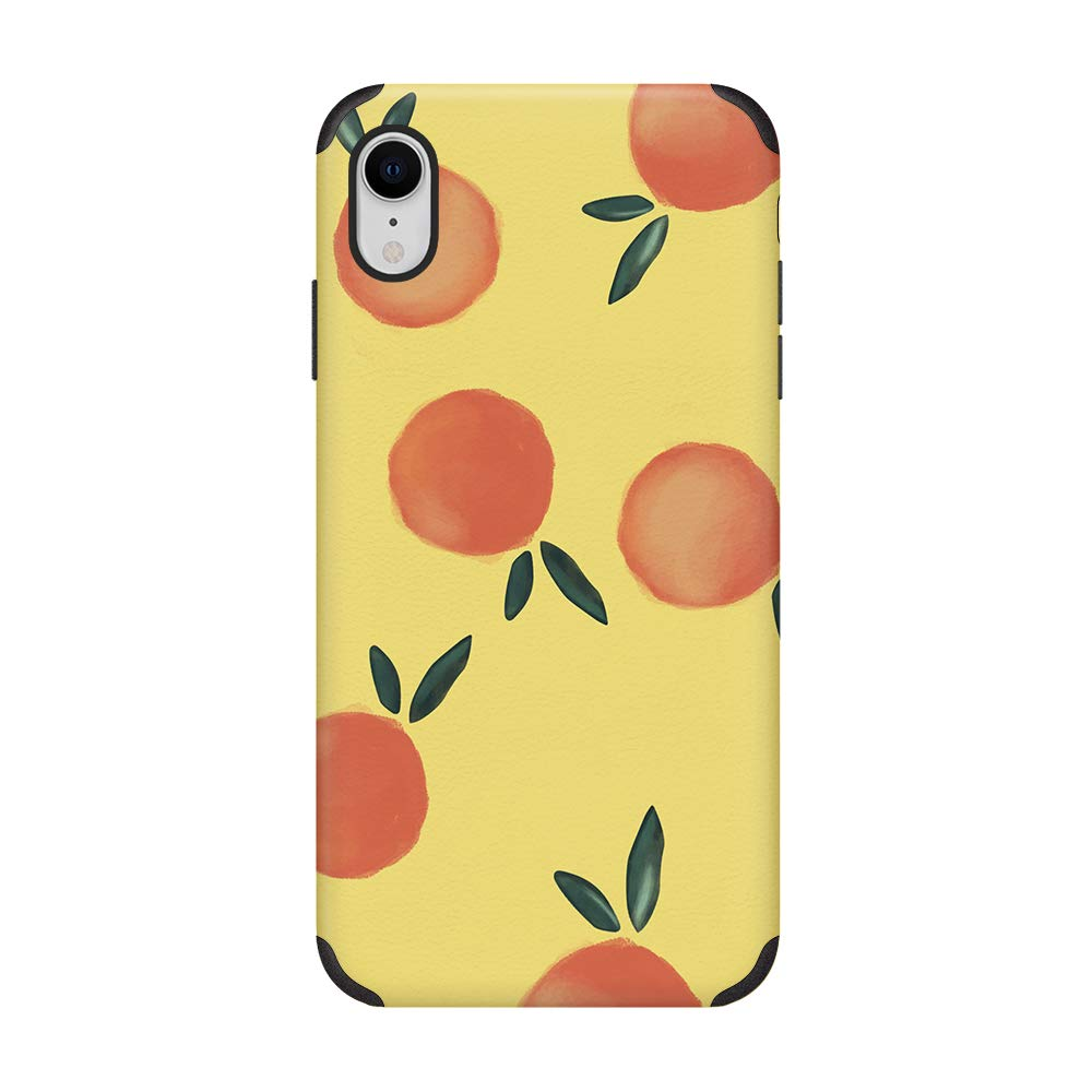 CUSTYPE iPhone XR Case for Girls Women Leather Print Oil Painting Retro Pattern Design Phone Case Ultra Slim Anti-Slip Shockproof Back Cover Case Compatible with iPhone XR 6.1 inch Oranges