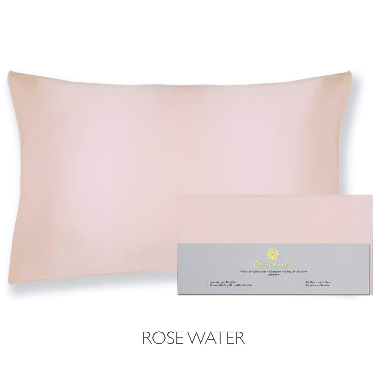 """Beauty of Orient - 25 Momme, 100% Pure Mulberry Silk Pillowcase for Hair and Skin, Natural Hypoallergenic Silk Pillow Case, Best for Beauty Body and Sleep (Standard - 20"""" x 26"""", Rose Water)"""