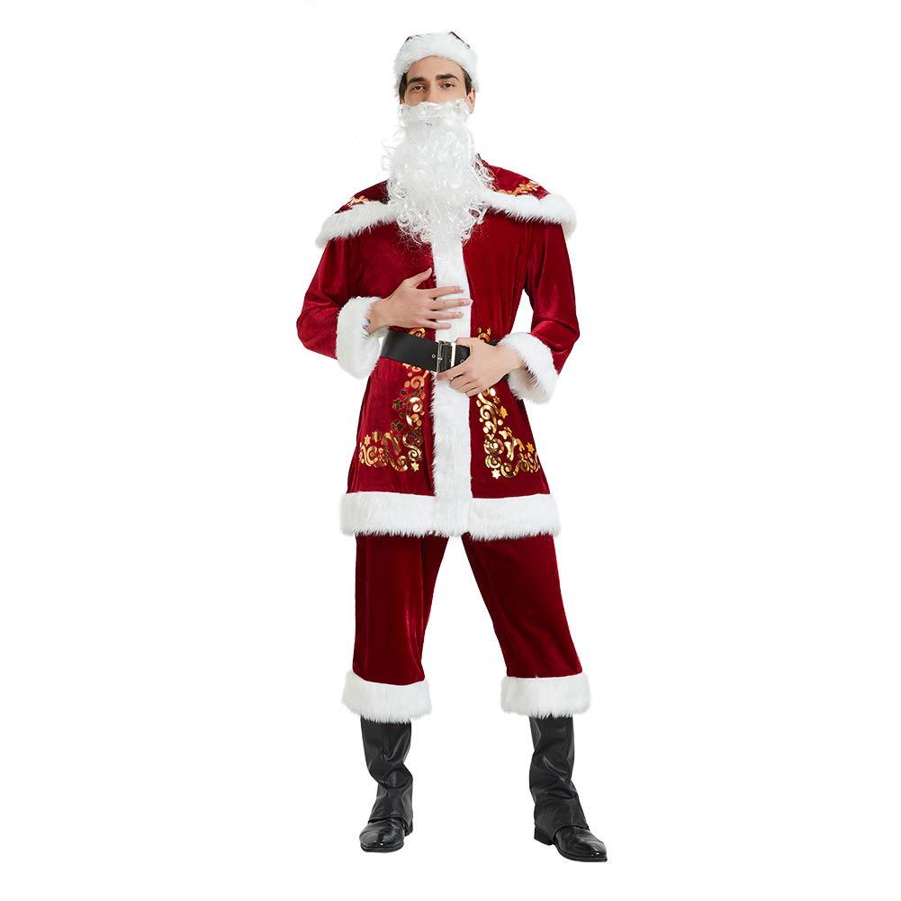 Risunpet Santa Claus Costume for Men, 7 Pieces Velvet Adult Santa Suit Cosplay Christmas Costume for Party