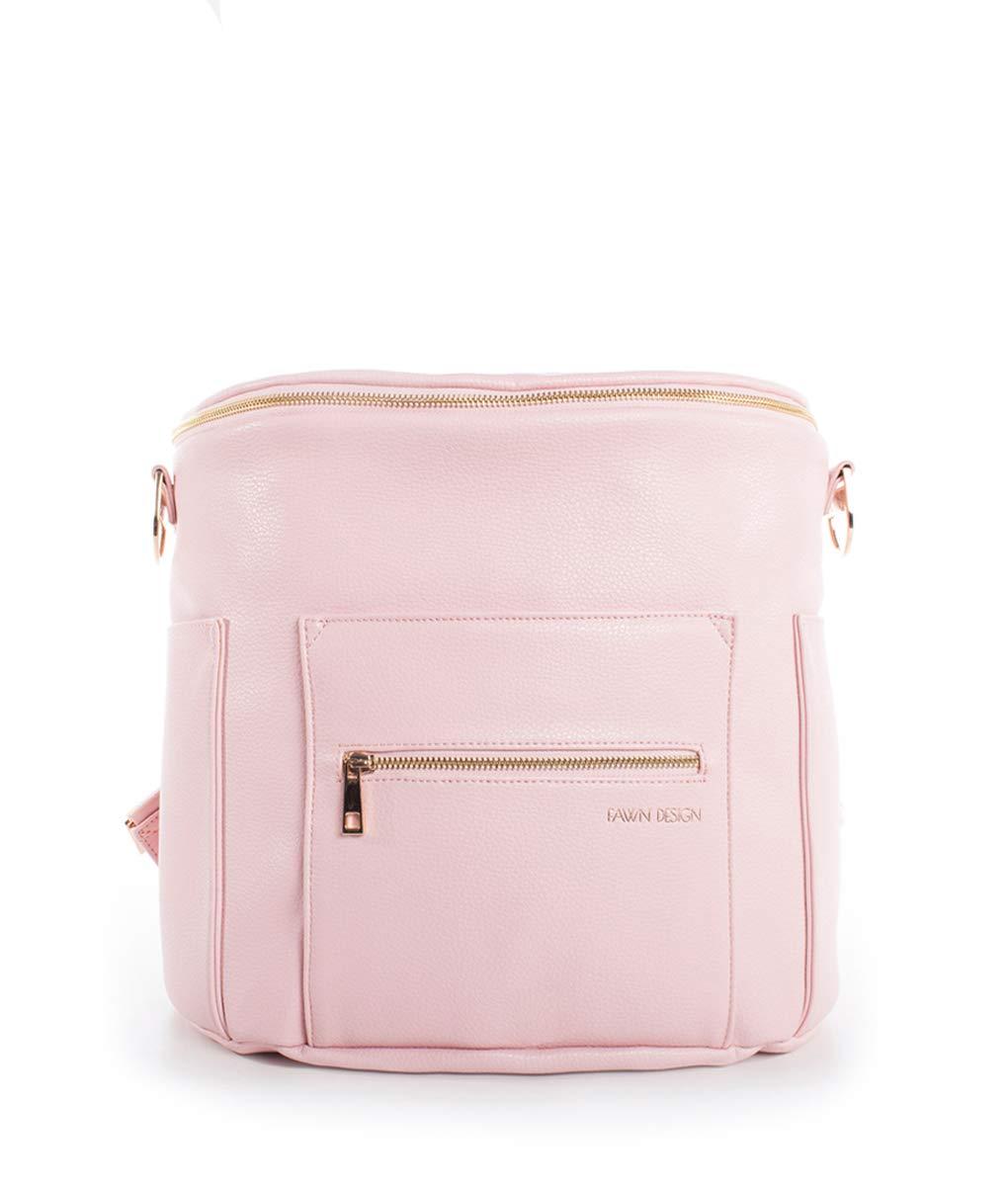 Fawn Design Premium Vegan Leather Diaper Bag and Backpack (Blush)