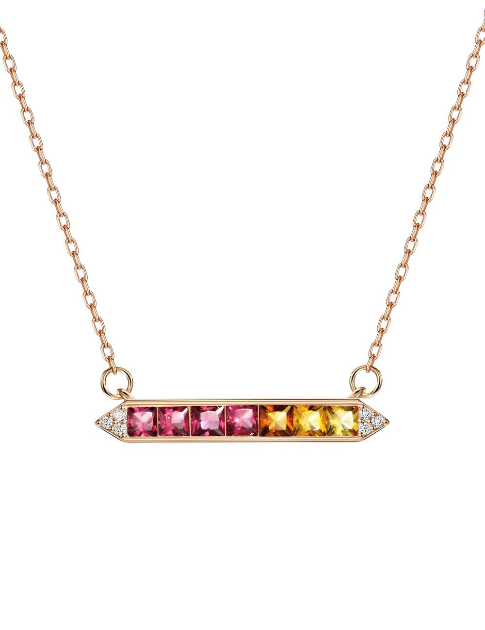 """18K Rose Gold Plated Bar Rainbow Color Birthstone Ruby Fancy Colored Sapphire Necklace Pendant 16-18"""""""