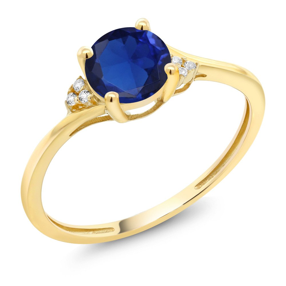 Gem Stone King 10K Yellow Gold Diamond Accent Engagement Ring Set with 6mm 0.80 Ct Blue Created Sapphire