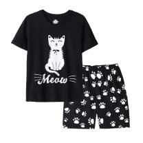 Vopmocld Big Girls Summer Short Sleeve Pajama Sets Cute Cat Patterns Sleepwear Nighty 100% Cotton