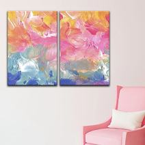 """wall26 - 2 Panel Canvas Wall Art - Abstract Oil Painting Brush Strokes - Giclee Print Gallery Wrap Modern Home Decor Ready to Hang - 24""""x36"""" x 2 Panels"""