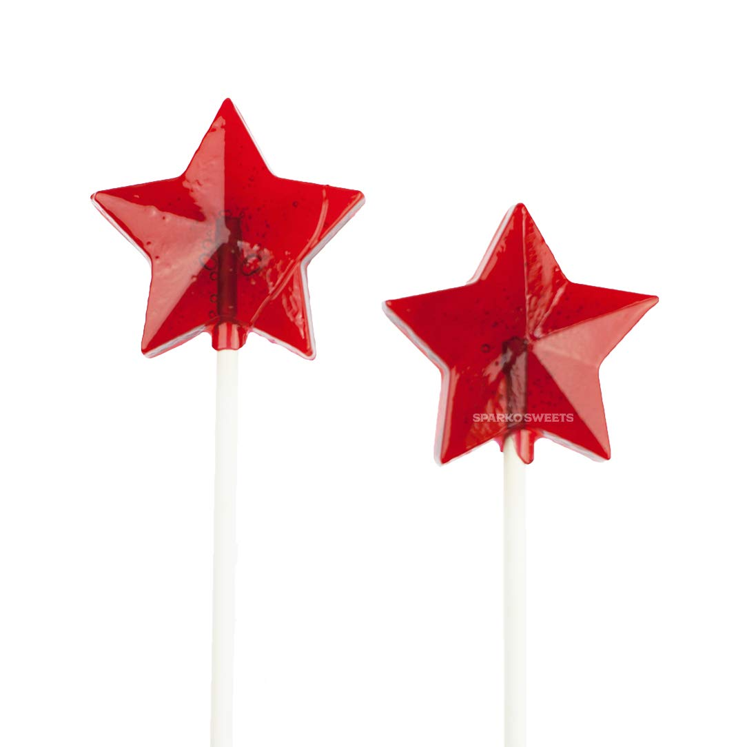 """Red Star Lollipops, Cherry Flavor, 2"""" Lollipop, 24 Pieces, Handcrafted in USA, 1.5 Pounds, Sparko Sweets"""