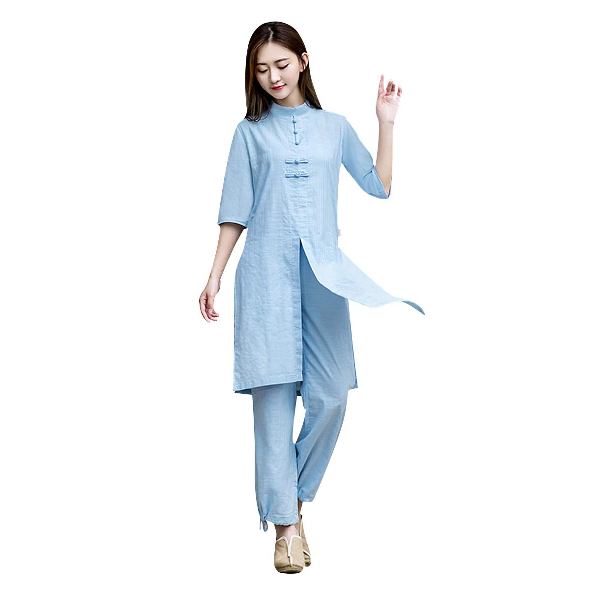 KSUA Womens Tai Chi Suit Linen Martial Arts Clothes Half Sleeves Yoga Clothing