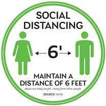 "Social Distancing Floor Decals - Safety Floor Sign Marker - Maintain 6 Foot Distance - Anti-Slip, Commercial Grade - 11"" Round - White/Green (5)"