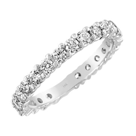 Brilliant Expressions 14K White Gold 1 Cttw or 2 Cttw Colorless Lab Created Conflict Free Diamond Shared Prong Anniversary Band Ring (E-F Color, VS2-SI1 Clarity)