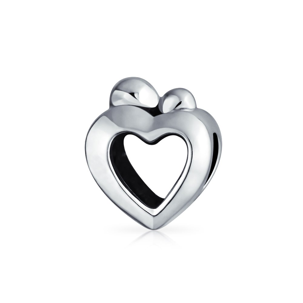 Mother Loving Open Heart Family Charm Bead For Women Oxidized 925 Sterling Silver Fits European Bracelet