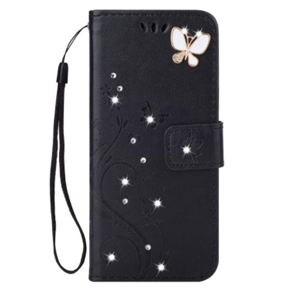 iPhone 11 Pro 5.8 Inch Wallet Case,Aulzaju iPhone 11 Pro Bling Handmade PU Leather Credit Card Cover iPhone 11 Pro Luxury Stylish Kickstand Case with Removable Strap for Girls Women(Black)