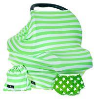 Baby Benjamin Car Seat and Nursing Cover with Bib and Drawstring Bag, Lime