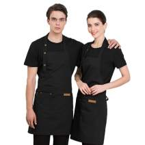 Homsolver Two Pockets Adjustable Bib Adult Apron - Extra Long Ties - Kitchen Apron, Money Apron, Waitresses Apron - Cooking Kitchen Aprons Women Men