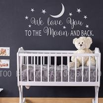 "BATTOO We Love You to The Moon and Back Wall Decal - Nursery Wall Decal - Moon and Stars Nursery Decals - Children Wall Decor - Wall Decals Nursery(White, 40"" WX20 H)"