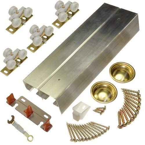 Johnson Hardware 138F Series Sliding Bypass Door Hardware (72 Inch - 2 Door System)