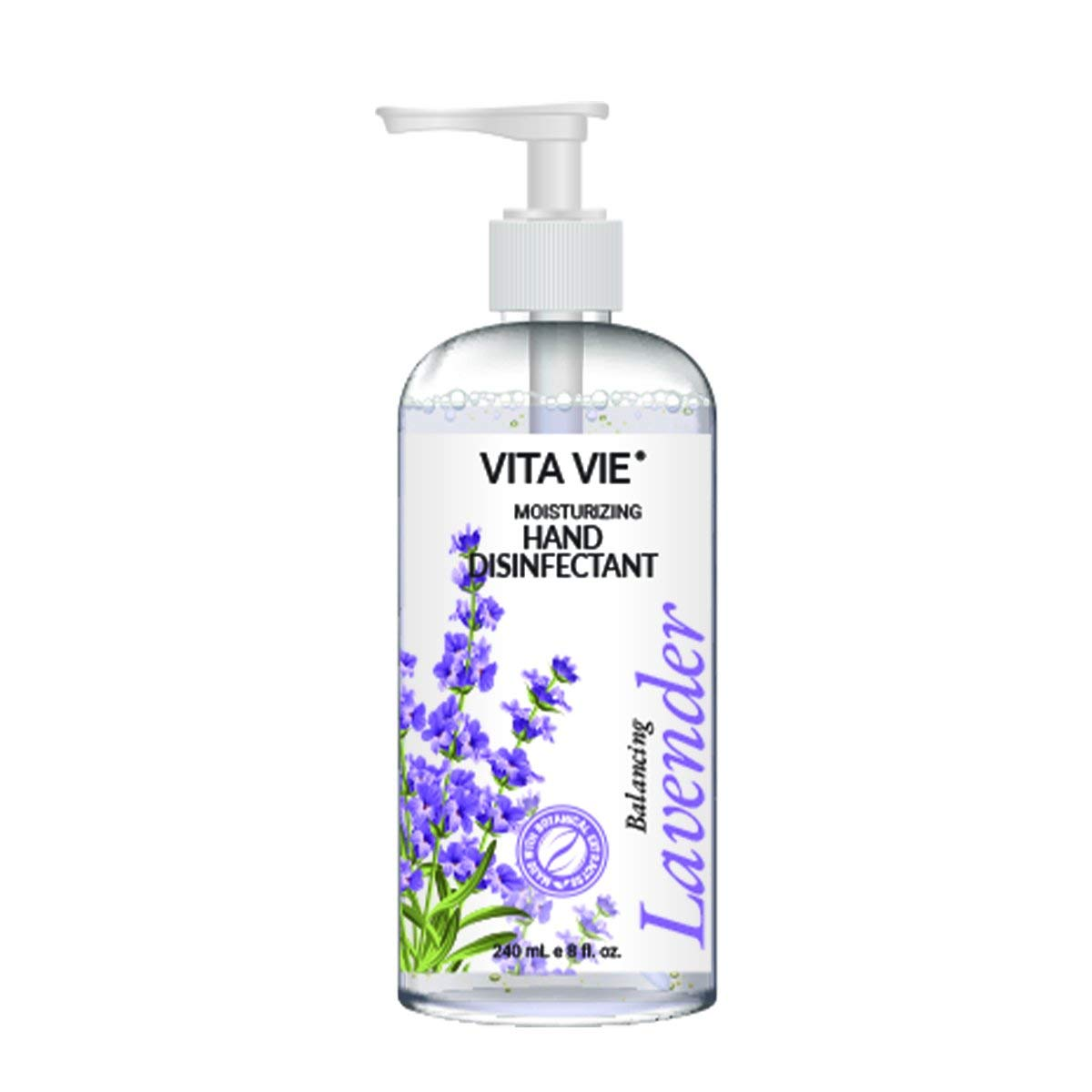 Vita Vie Moisturizing Hand Disinfectant, 8 oz Lavender Scented Hand Sanitizer with Pump - No-Soap, Rinse-free Hand Cleaner - Safe & Organic Ingredients