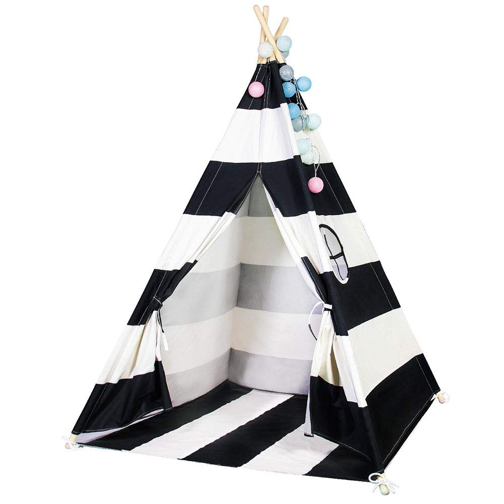 scriptract Kids Teepee Tent Playhouse 100% Natural Cotton Canvas with Window & Carrying Bag ,Foldable Tipi for Indoor & Outdoor (Black)