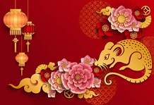 AOFOTO 5x3ft 2020 Happy New Year Backdrop Beautiful Chinese Paper-cuts Background Spring Festival Party Decoration Holiday Eve Celebration Flowers Lucky Cloud Red Lantern Year of The Rat Banner Props