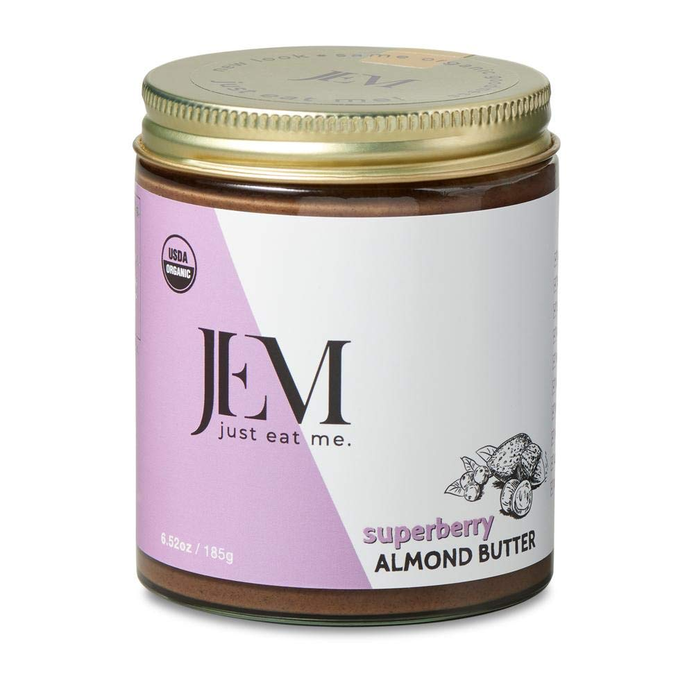 JEM - All Natural, Vegan, Organic, Dairy Free Maqui Camu Super Berry Nut Butter - Creamy Artisan Spread for Snacks and Sandwiches, 6 oz