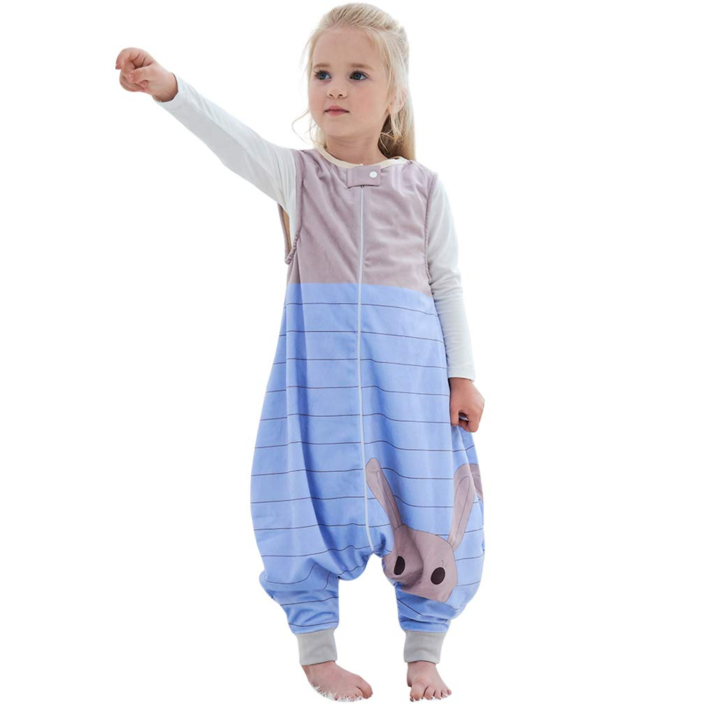 MICHLEY Baby Sleeping Bag Sack with Feet Spring Winter Swaddle Wearable Blanket Sleeveless Nightgowns for Infant Toddler, 4-5T, Blue Rabbit