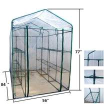 "MTB Outdoor Portable Walk-in Garden The Greenhouse 2 Tiers 12 Shelves with PVC Cover - 84"" Lx56 Wx77 H"