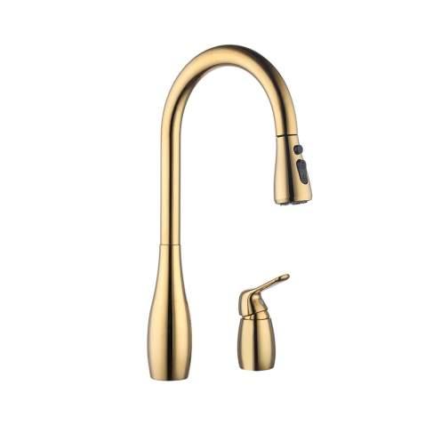 Kes Kitchen Pull Down Sink Faucet Lead Free Brass 3 Hole Gooseneck Kitchen Faucet Sprayer Single Handle Gold L6981lf Pg