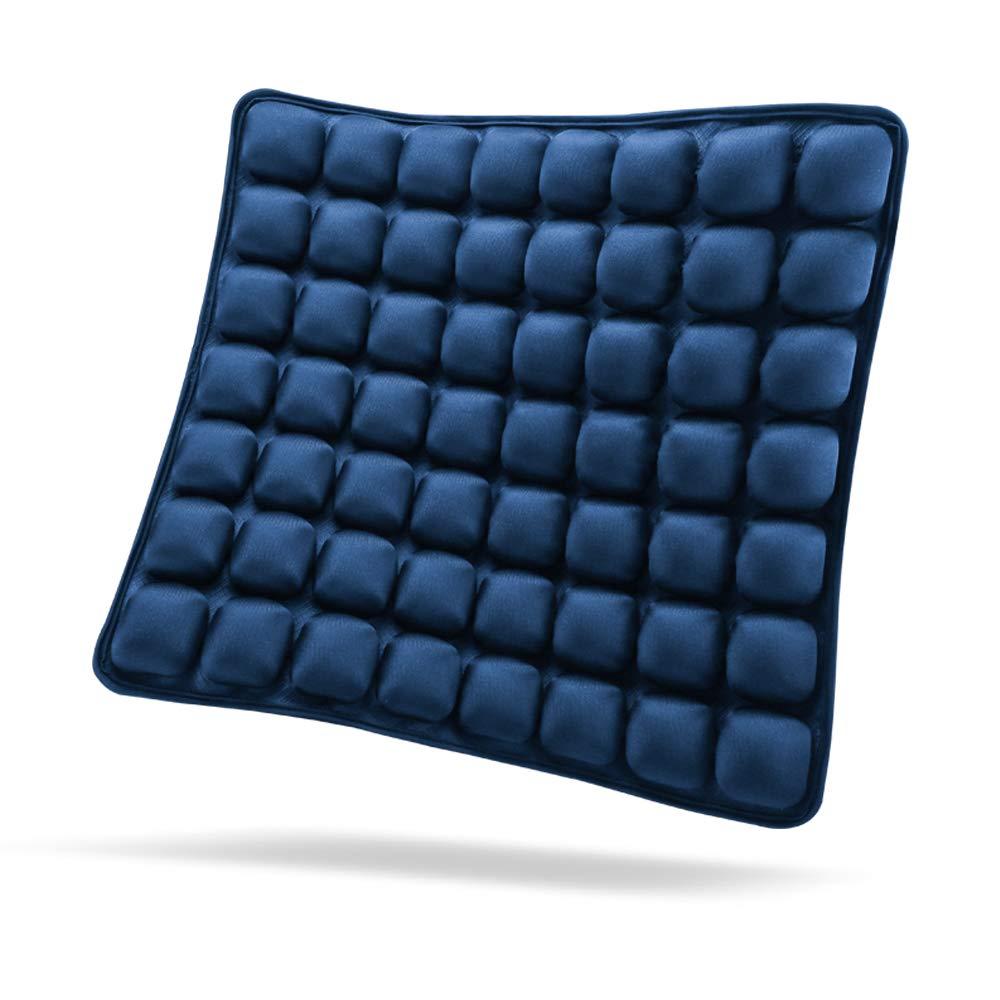 "SUNFICON Air Seat Cushion Inflatable Comfort Cushion Portable Car Seat Office Chair Wheelchair Pad Anti Bedsore Orthopedics Pain Pressure Relief Cushion Camping Seat Mat w Pump 18""x16"" Blue"