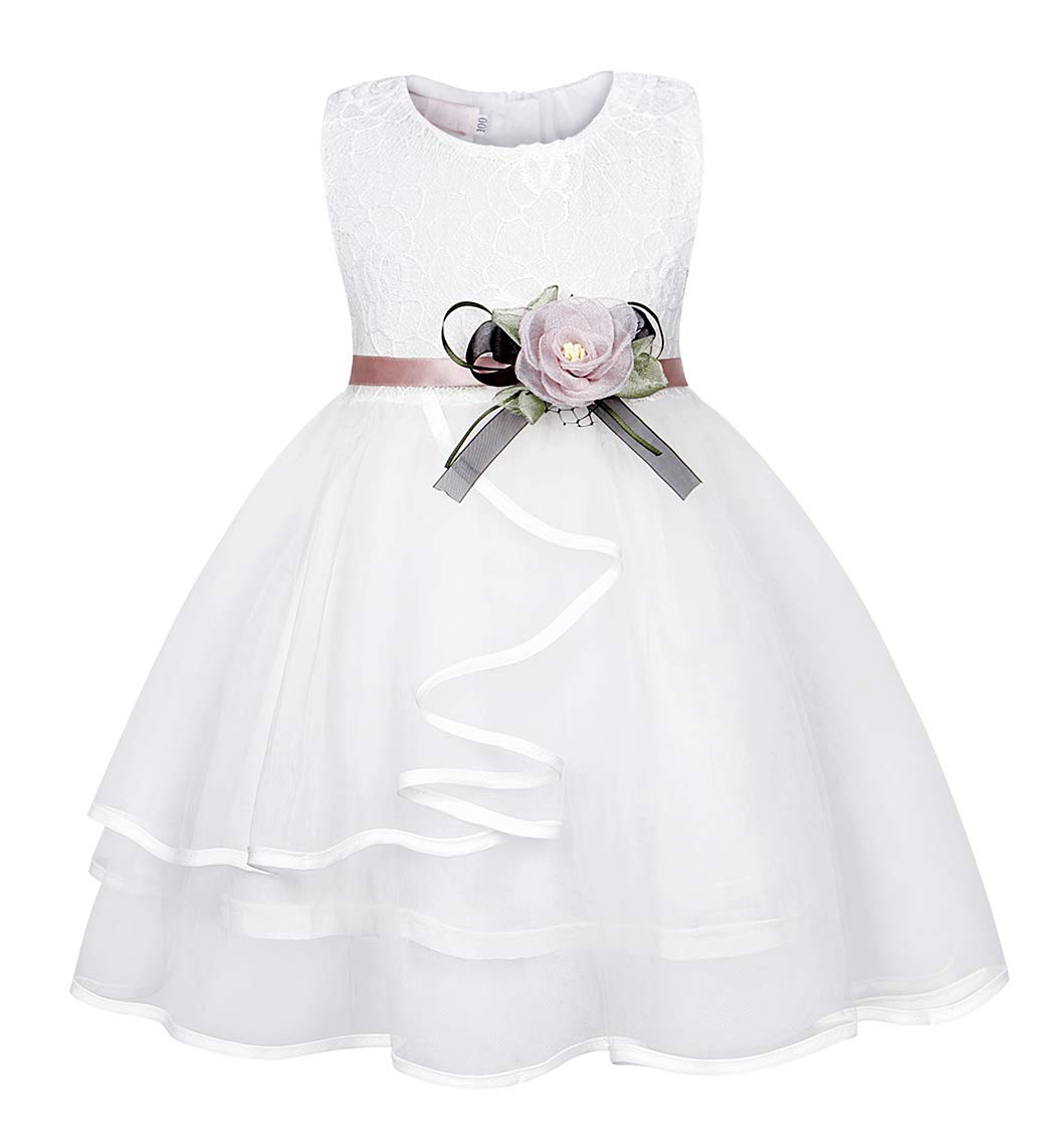 MetCuento Baby Girls Princess Dresses Lace Flower Tulle Wedding Christening Baptism Birthday Party Dress