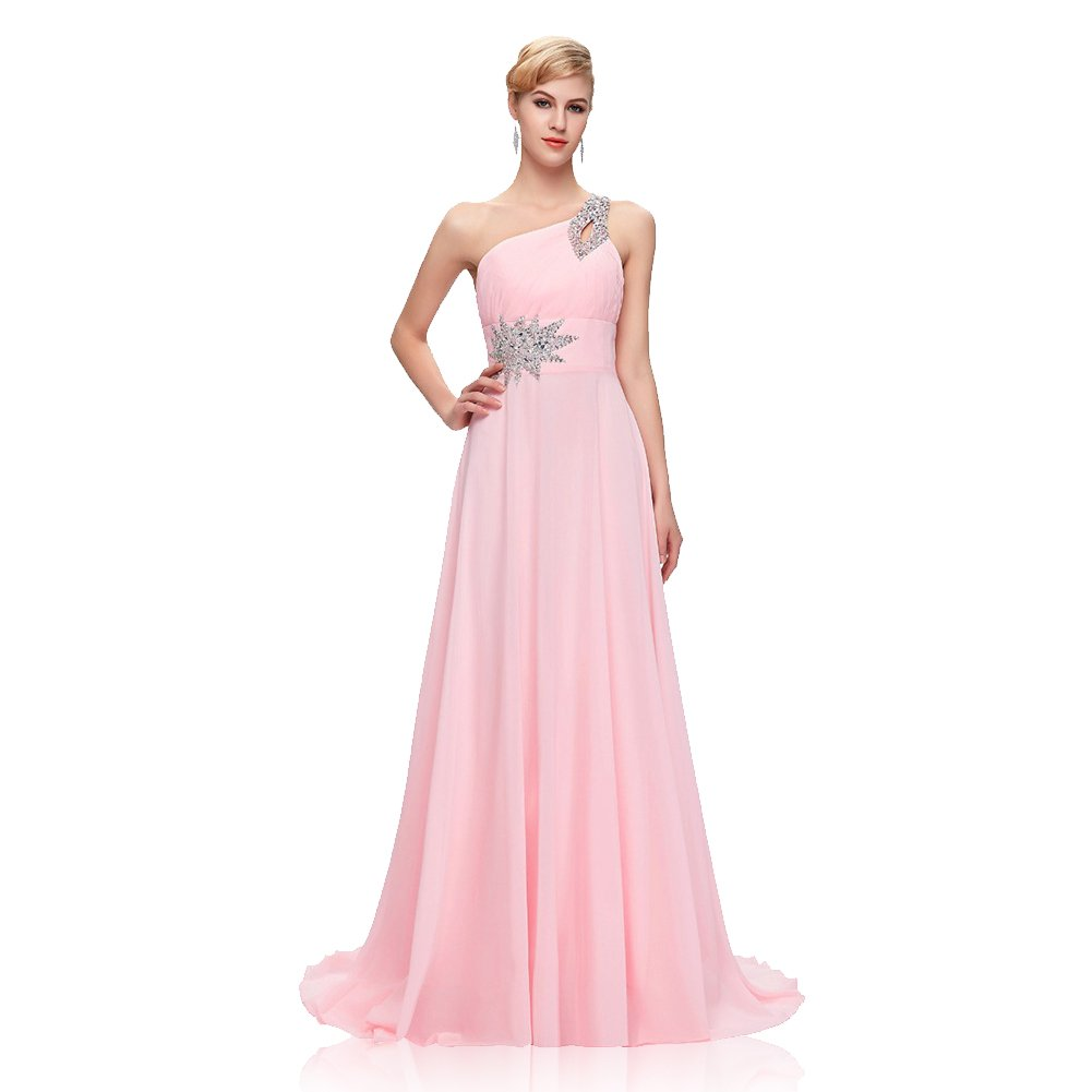 Woolala Women Plus Size One Shouder Elegant Wedding Dresses with Open Back Lace-up for Wedding/Party/Evening Party