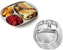 Royal Sapphire Stainless Large Mess Trays, Great Size for Lunches, Kids, Portion Control, Camping, Party Plates Dinner Plate Set of 4 Pieces