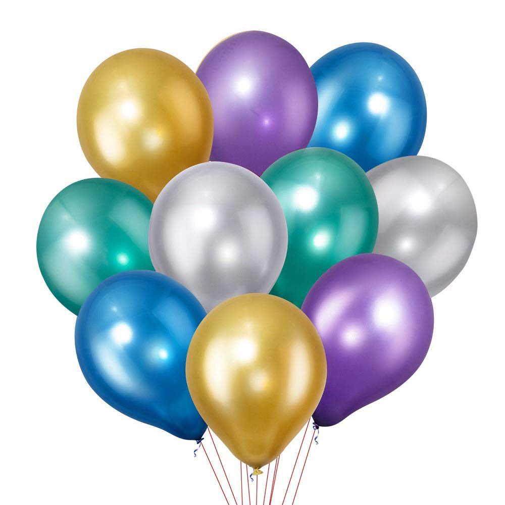 Yeunmu[Upgrade Version]50 PCS Metallic Balloons, Chrome Balloons, Premium 12 Inches Colorful Balloons, Thickened Party Balloons, for Party Decoration or Arch Decoration(5 Colors X 10)