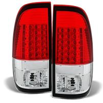 For Red Clear 97-03 F150 97-99 F250 LD 99-07 Superduty LED Tail Lights Brake Lamp Replacement Pair