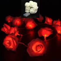 VIPMOON LED Rose Flower String Lights,2M 20LED Battery Operated String Romantic Flower Rose Fairy Light Lamp Outdoor for Valentine's Day,Wedding,Room,Garden,Christmass,Patio,Festival Party Decor - Red