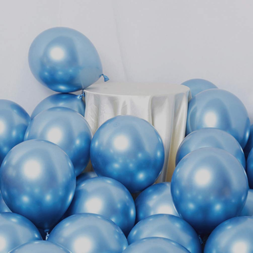 AULE Party Balloons 50 Pcs 12 inch Blue Metallic Chrome Helium Shiny Latex Thicken Balloons Wedding Birthday Baby Shower Graduation Christmas Carnival Party Decorations