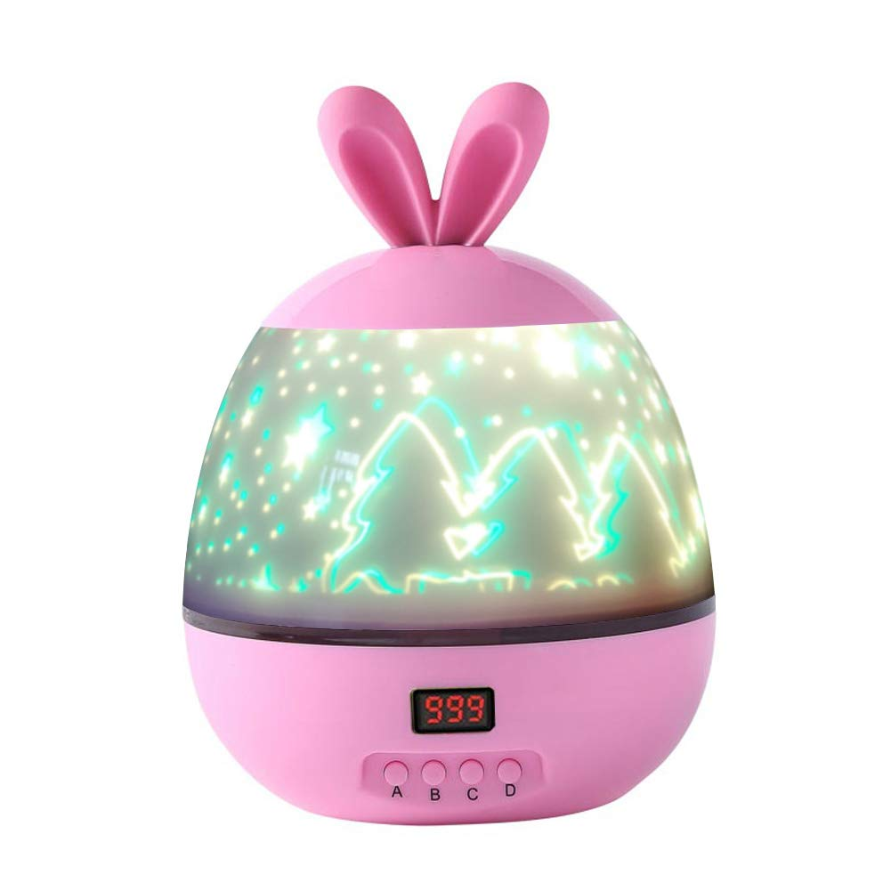 Aeeque Kids Night Light Novelty Star Sky Projector Lamp Romantic Rotating Cosmos LED Baby Night Lights Desk Table Lamp with Timer Auto-Shut, Birthday for Kids Baby Bedroom Decor Pink