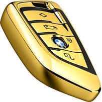Intermerge for BMW Key Fob Cover,Blade Shape Soft TPU Key Case Shell Pouch for BMW New BMW X1 X3 X5 X6,BMW Series 1 2 5 7 Keyless Entry BMW Key Cover_Gold