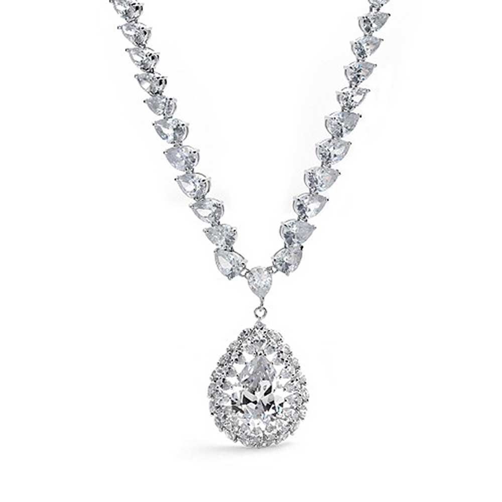 Bride Prom Holiday Large Dangling Teardrop AAA Cubic Zirconia CZ V Collar Statement Necklace for Women Silver Plated