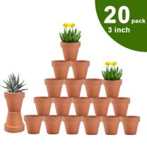 vensovo 3 Inch Terra Cotta Pots with Drainage - 20 Pack Clay Flower Pots, Succulent Nursery Pots Great for Plants, Crafts, Wedding Favor