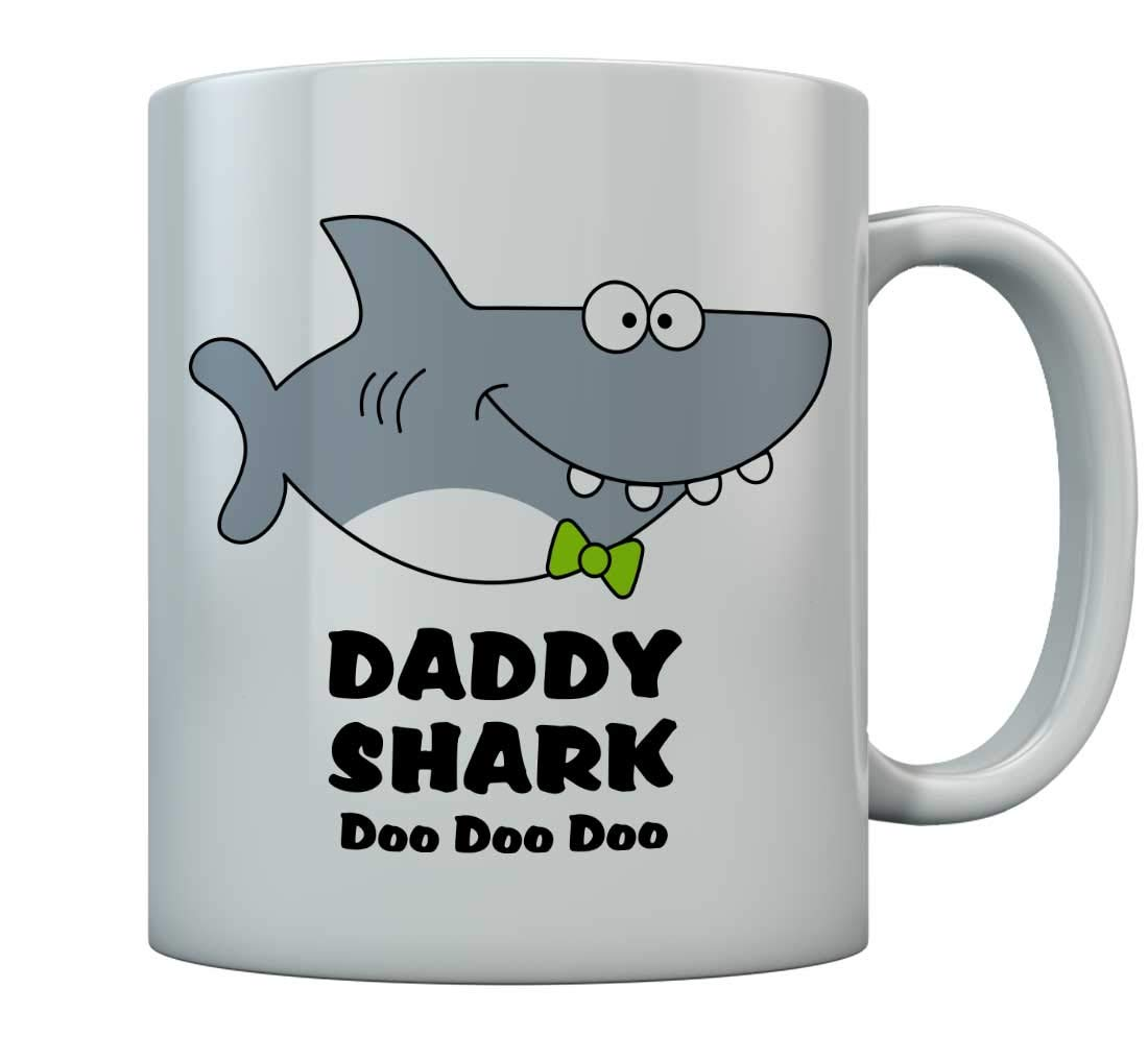 Fathers Day Gifts For Dad Daddy Shark Funny Coffee Mug For Dad Birthday Gift Mug Father Coffee Cup 15 Oz. White
