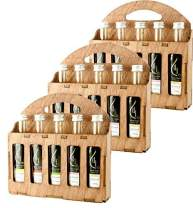 Pellas Nature   Fresh Organic Herbs Infused Greek Extra Virgin Olive Oil   5 Flavors in French Glass bottles   Finishing oil   Holiday Wooden Gift Set   5 X 1.7oz Each (3 Pack)