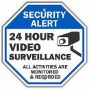 """""""Security Alert - 24 Hour Video Surveillance, All Activities Monitored"""" Sign By SmartSign 