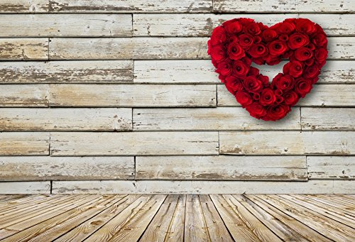 Baocicco 7x5ft Happy Valentine's Day February 14th Love Photography Background Heart Shape Rose Wreath Rustic Wood Plank Board Wall Floor Backdrop Lover Girls Portrait Photo Shooting Props