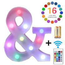 LED Marquee Letter Lights 16 Colors Changing Alphabet Sign Light Up Marquee Number Lights Battery Powered Plastic Letter for Night Home Bedroom Birthday Party Christmas Bar Decor(&)